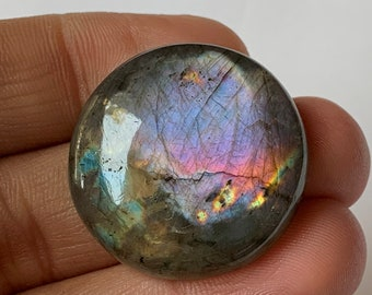 Loose Labradorite Cabochon Big Ring Size Oval Stone Purple Colours Smooth Domed Top and Flat Back for Easy setting