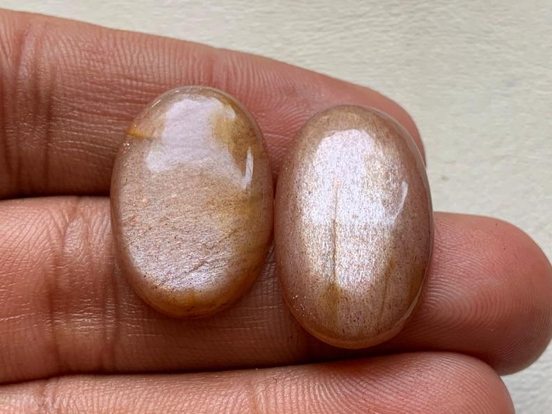 Natural Golden Moonstone Cabochon Gemstone,Golden Moonstone,Silver Jewelry Moonstone Loose Gemstone Oval Shape 26x16x5 25x16x5 mm 39 Crt