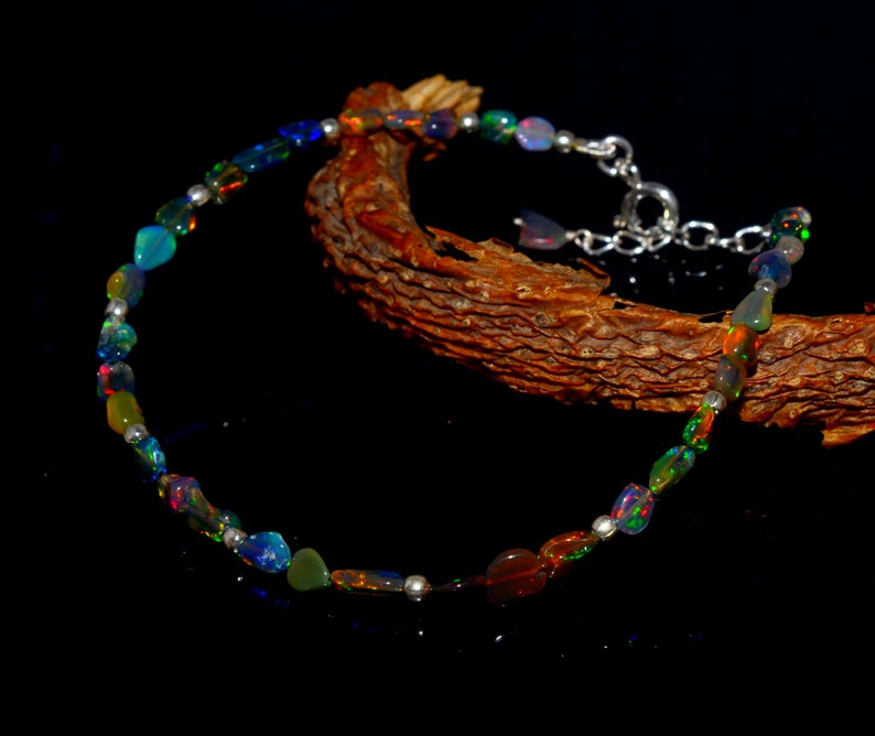925 Sterling Silver Jewelry Cabochon Tumbel Bracelet  Multi Fire Ethopian Opal Opal Bracelet Jewelry Natural Ethopian Opal Gemstone
