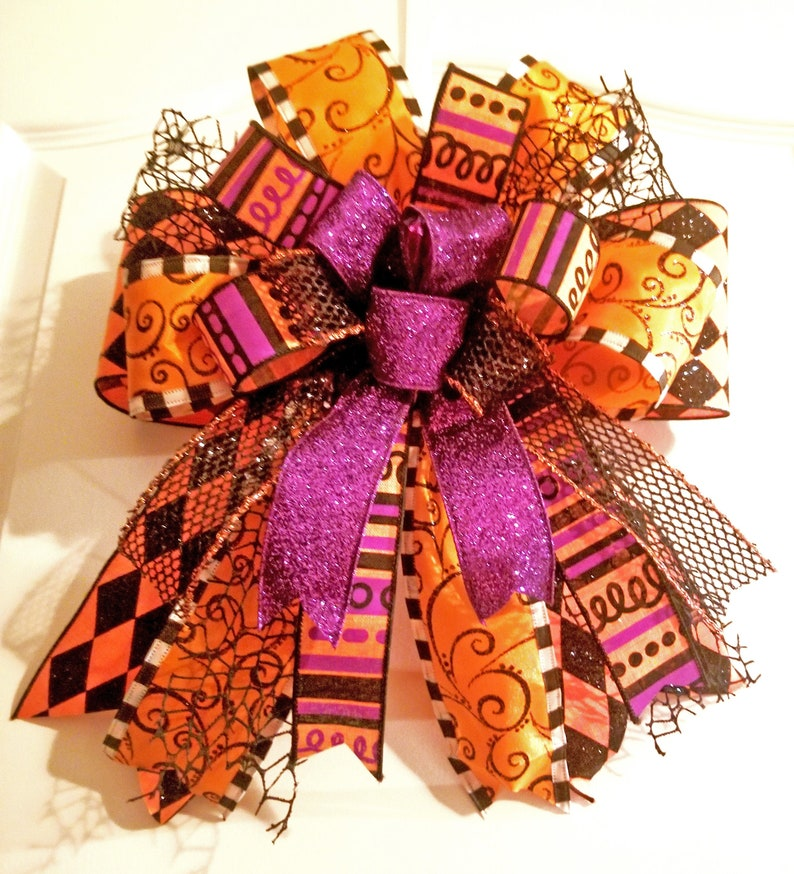 Halloween Bow Autumn Bow Thanksgiving Bow Fall Bow Bow for image 0