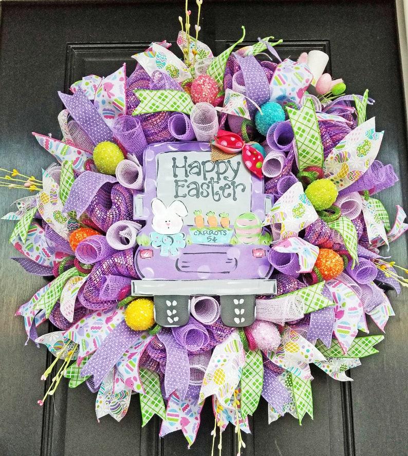 Easter Wreath Truck Wreath Spring Wreath Whimsical Wreath image 0
