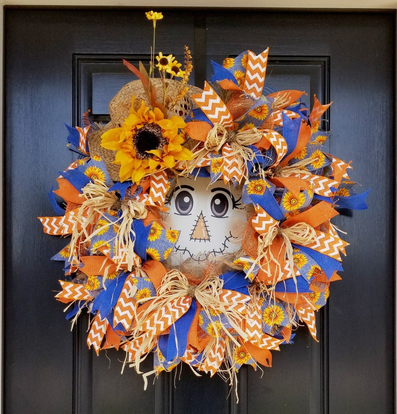 Scarecrow Fall Wreath Scarecrow Wreath Sunflower Wreath image 0