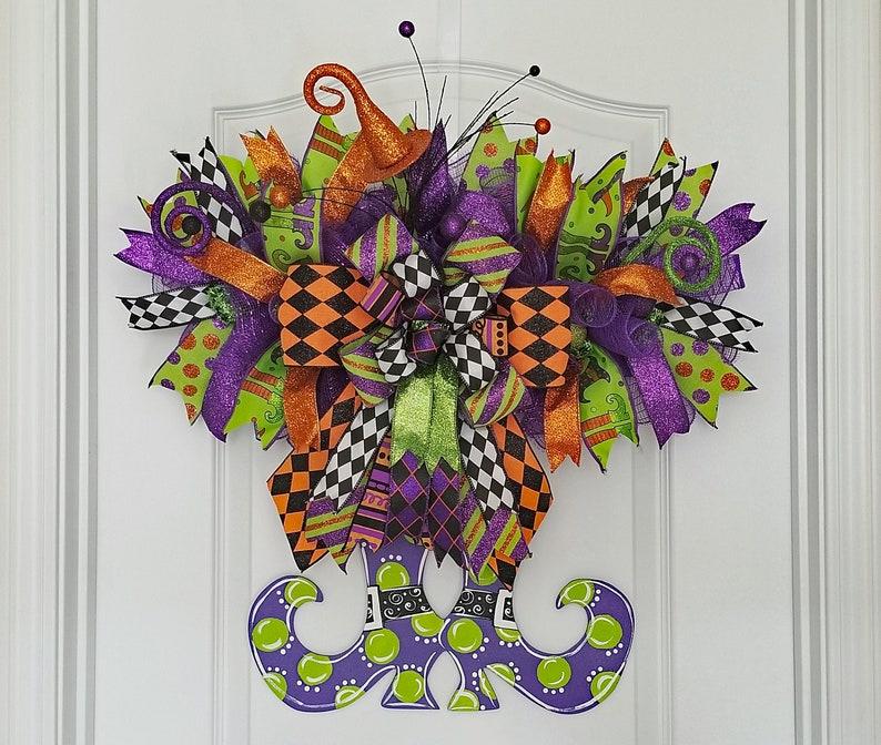 Witch Door Hanger Halloween Witch Wreath Halloween Wreaths image 0