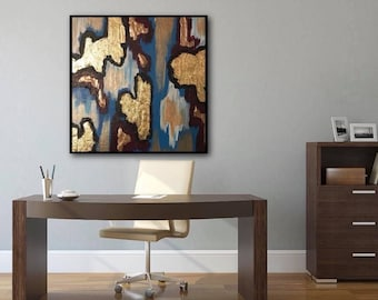 Bright Blue, Magenta and Gold Leaf Abstract Art