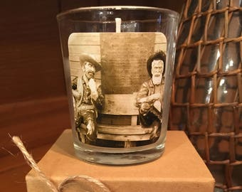 """No. 18 """"Cowboy"""" Votive Candle: Handpoured, Handmade Soy Candle With Custom Photograph By Brian McCullah (Snickers Coffee Scent)"""