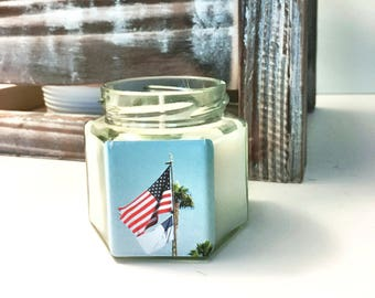 """No. 19 """"Fireworks"""" 4 oz. Hexagon Candle: Handpoured, Handmade Soy Candle With Custom Photo By Brian McCullah (Root Beer Scent)"""
