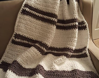 Grey and white afghan