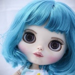 OOAK custom Blythe blue hair. Complete outfit and accessories included