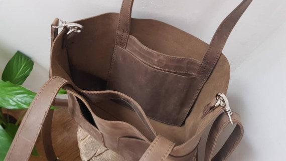 0ea32013be77 Leather Tote bag with zipper Monogram tote Olive color