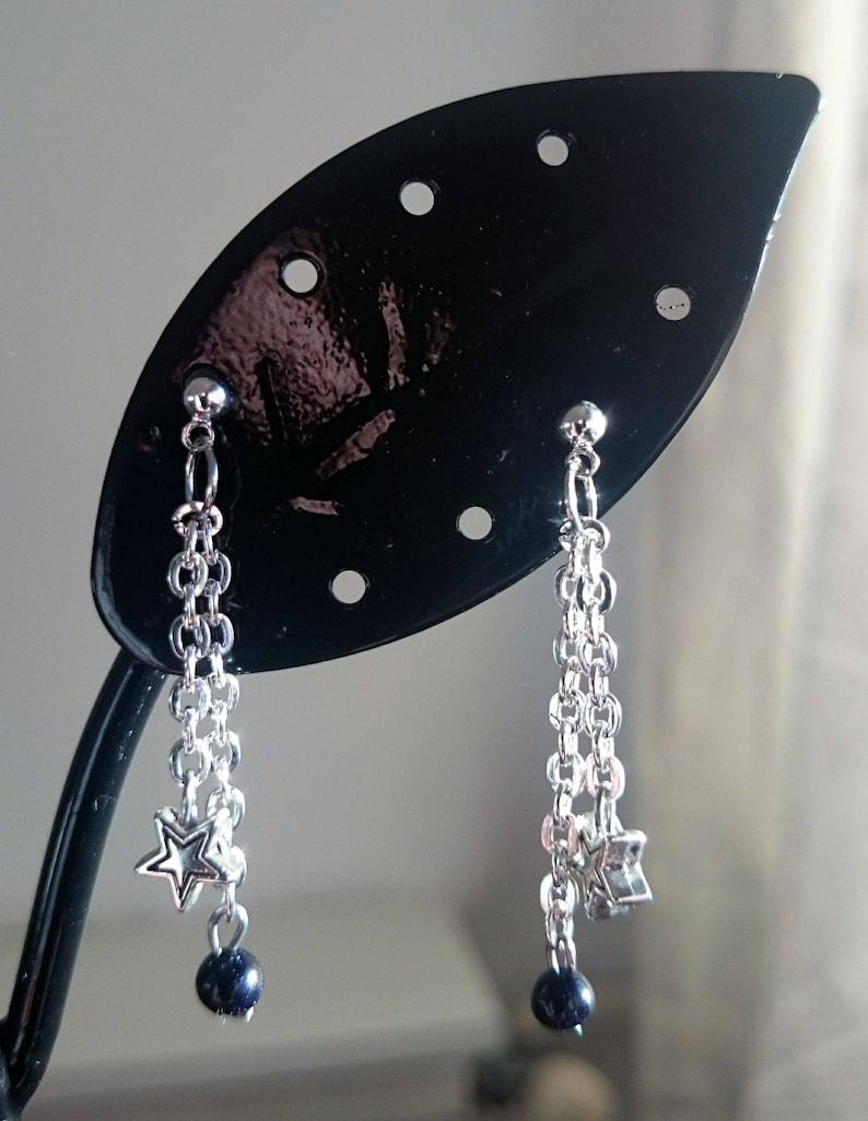 d4f78ffad2f7 Pendientes colgantes Estrellas y perlas naturales de cianita