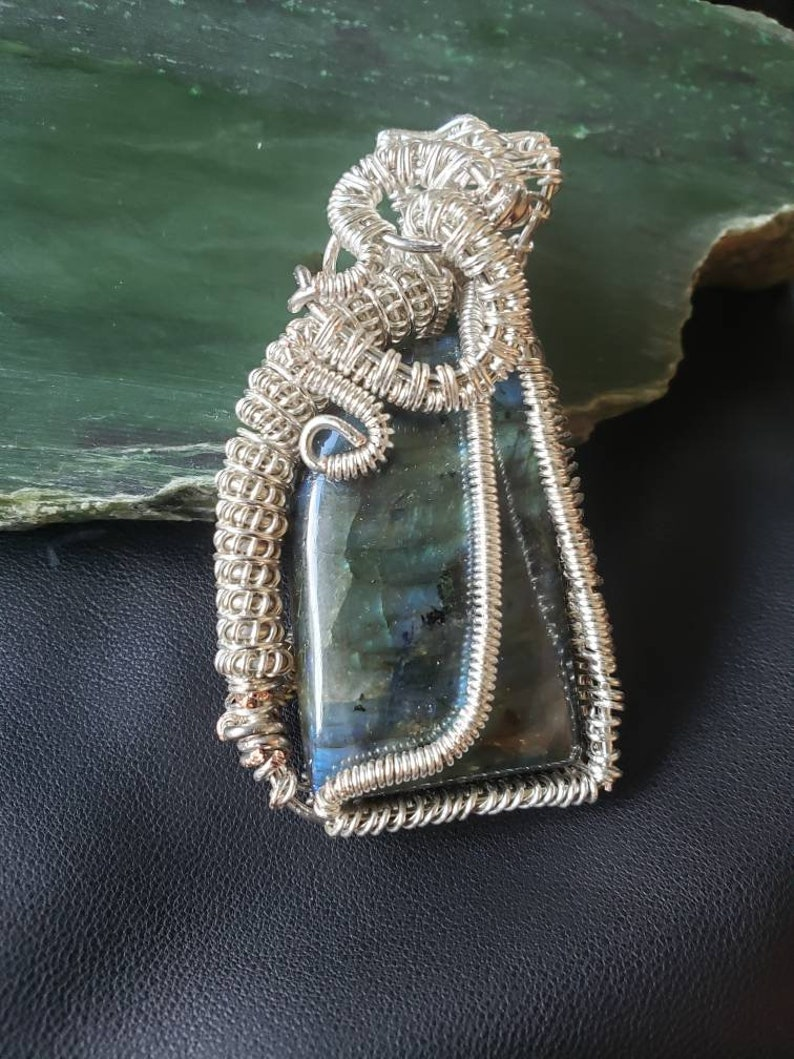 Large Silver Plated Woven Wire Labradorite Cabochon Pendant image 0