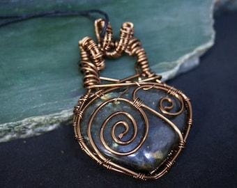 Labradorite Heart Pendant Antique Copper Wire Wrapped
