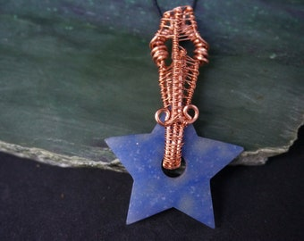 Blue Quartz Star Woven Wire Wrapped Crystal Pendant