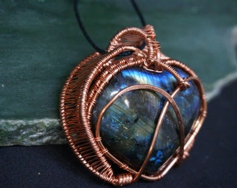 Large Labradorite Heart Wire Wrapped Crystal Pendant