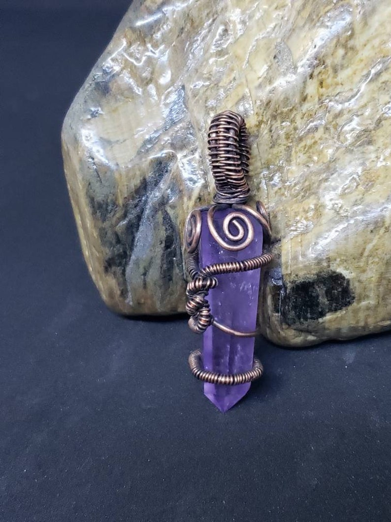 Amethyst Dreams Crystal Point Wire Wrapped Pendant Talisman 2 image 0