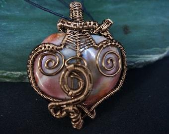 Large Ocean Jasper Heart wire Wrapped Pendant
