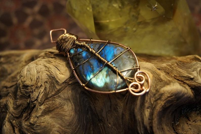 Handmade Copper Wire Wrapped Labradorite Leaf Pendant  image 0