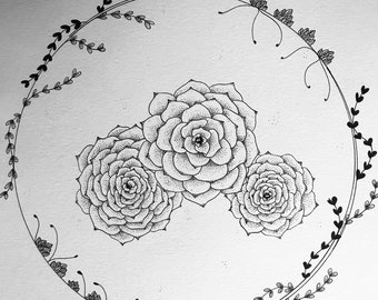 2f554803a Succulents, Wall Art, Original Artwork, Dotwork, Black and White