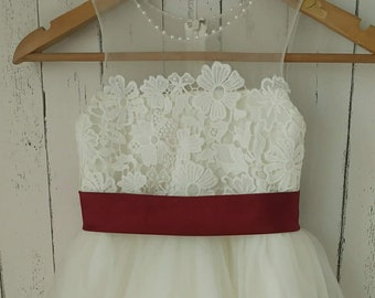 Ivory Lace tulle flower girl dress with satin burgundy sash