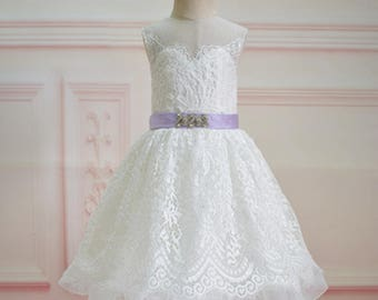 Ivory Lace Flower Girl Dress with Lavender Sash