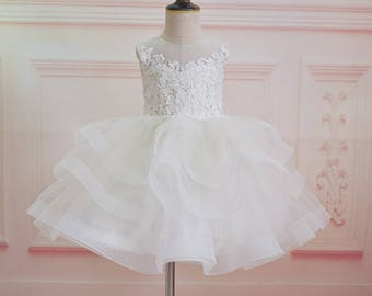 Lace tulle wedding flower girl dress