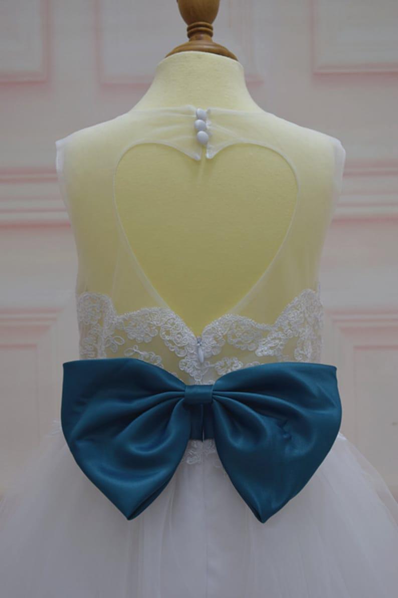 Floor-Length Flower girl dress with Sash Green-Blue Waistband