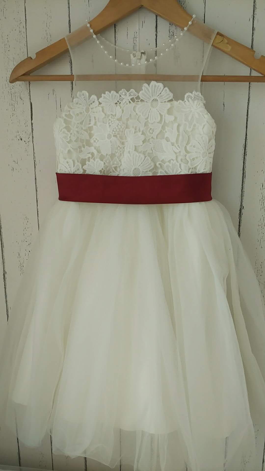 Ivory Lace Tulle Flower Girl Dress With Satin Burgundy Sash Etsy