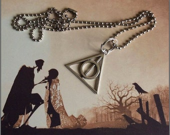 """Harry Potter Memorabilia: The 'Deathly Hallows' Pendant on a 24"""" Stainless Steel Ball Chain Necklace and/or a Stainless Steel Key Ring"""