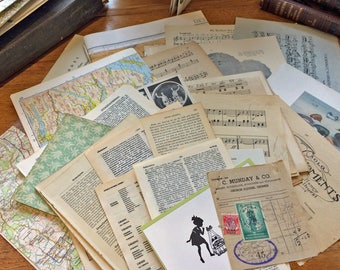 Vintage Craft Paper Pack Music Maps Dictionary Encyclopedia Scrapbook A3 to A5