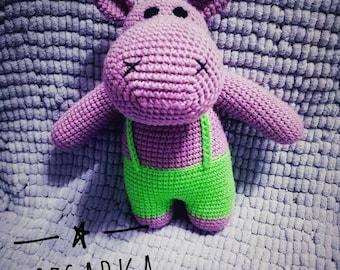 Hippo Amigurumi. Crochet toys. Cute stuffed animals. Handmade. Crochet hippopotamus. Kawaii Hippo. MADE TO ORDER