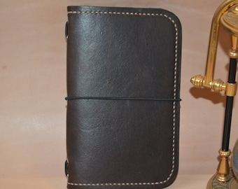 Journal cover, for Moleskine cahier 140x90mm small notebooks inserts, Leather,  Hand made from Eco tanned leather.
