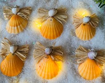 Christmas ornaments, angels, seashell, hanging tree, birthday gift, christmas deco, christmas gifts (set of 6), gift edition