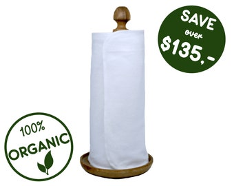 Organic reusable paper towel roll - Unpaper papperless towels - Zero Waste Housewarming - Kitchen gift for mom - Washable cloth napkin snaps