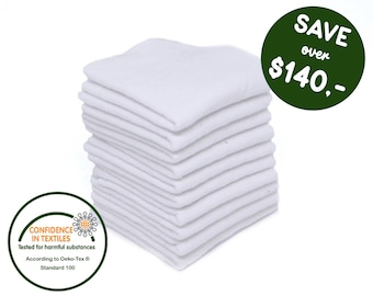 Zero Waste Unpaper towels - Reusable Cloth Diaper Wipes - Set with small Family Cloth Napkins - Sustainable gift -   Gift for newborn