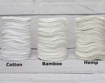 Reusable facial rounds organic hemp, bamboo and cotton - Makeup remover pads - Washable make up squares - Scrubbies - Zero waste - Cleaners