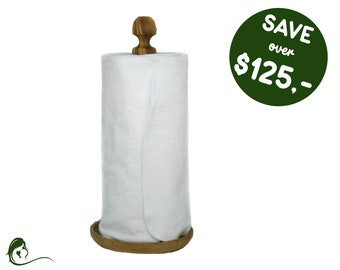 Zero waste paperless kitchen towels - Reusable paper towel roll - Sustainable Housewarming - Gift for mom - Unpaper cloth napkins With snaps