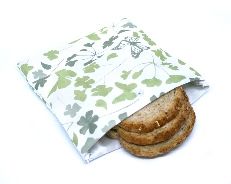 Reusable beeswax free lunch bag   Waterproof travel sandwich image 0