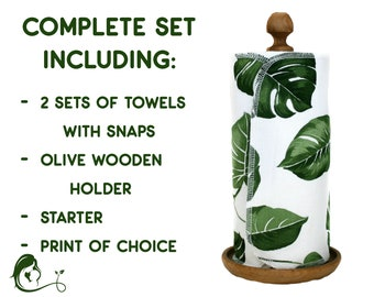 Complete set Zero waste paperless Unpaper kitchen towels - Reusable paper towel roll - Eco Housewarming gift - With snaps - Plant Palm leaf