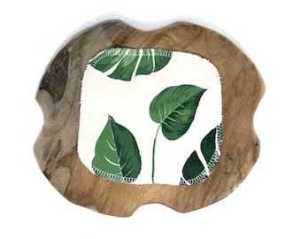 Zero Waste Unpaper towels - Reusable Cloth Diaper Wipes - Set with small Family Cloth Napkins - Sustainable Handkerchief gift set - Leafs