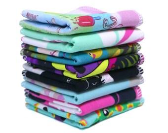 Reusable bamboo baby wipes - Organic family cloth napkins - Eco friendly baby gift - Zero waste - Girl print