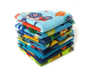 Reusable bamboo baby wipes - Organic family cloth napkins - Eco friendly baby gift - Zero waste - Boy print