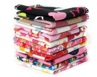 Reusable baby wipes - Family cloth napkins - Cloth diapers - Zero waste - Girl print