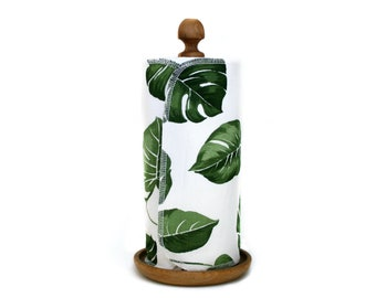 Zero waste paperless kitchen towels - Reusable paper towel roll - Housewarming gift - Unpaper cloth napkins With snaps - Monstera Palm leaf