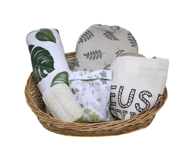 Unpaper Towels Zero Waste Kitchen Starter Kit Gift Set; Eco-Friendly Home Gift w Canvas Tote Dish Cloth /& Spray Bottle Beeswax fabric