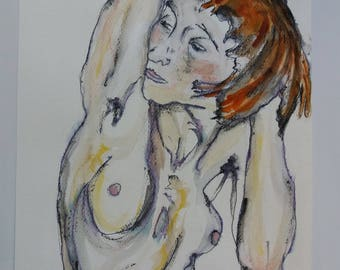 Female nude with red hair-watercolor No. 37-2018 Egon Schiele atupertuarte Original Watercolor Italian Art