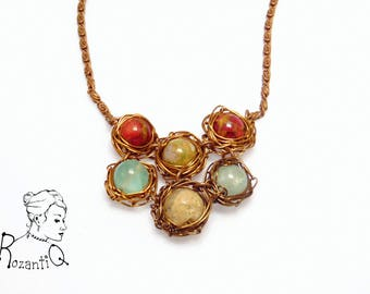 Statement bib necklace with wire wrapped beads