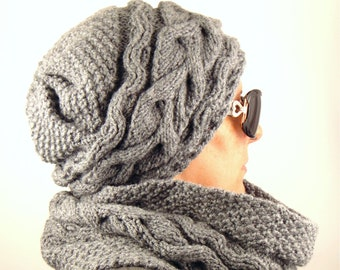 fa7d5ae2a5b HAT SCARF SET Winter Knit hat scarf set Chunky hat and scarf set Wool hat  scarf set Aran Cable knit hat scarf Silver Hat scarf set Fleece