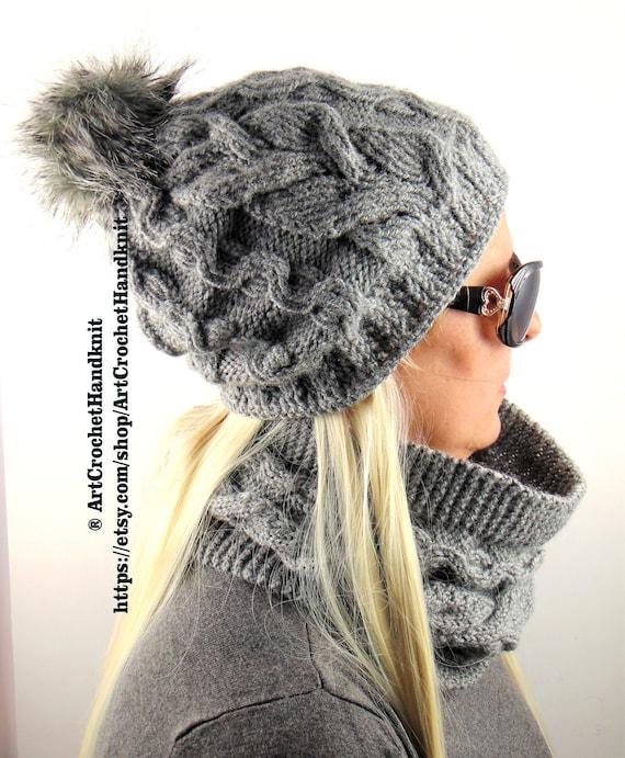 9f9d399a7b3 Pom pom Hat Scarf Set knit hat scarf set wool hat scarf set