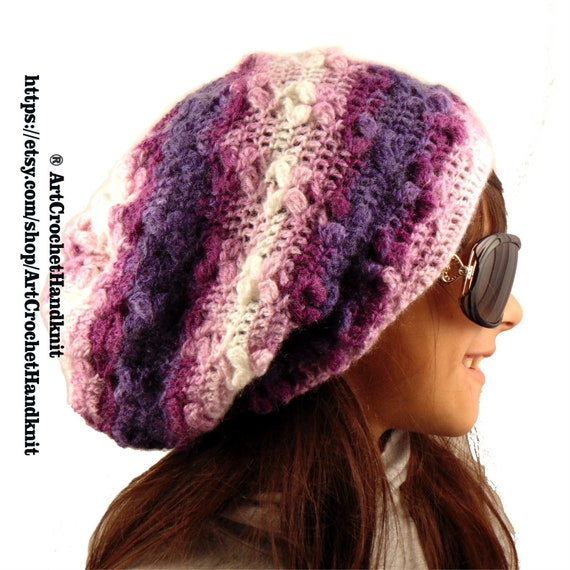 KNIT SLOUCHY HAT Wool slouchy beanie Slouchy mohair hat Winter  c21a781e41f