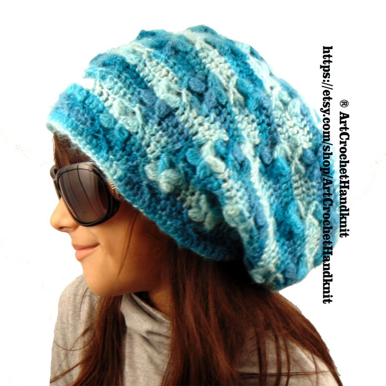 15b5207e721 KNIT SLOUCHY HAT Slouchy mohair hat Wool slouchy beanie Winter
